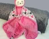 Kitty Security Blanket, Cat Blanket Doll, Pink Minky Blanket, Baby Blanket, Lovey, Teething Toy, Sensory Blanket, Stuffed Animal, Baby Girl