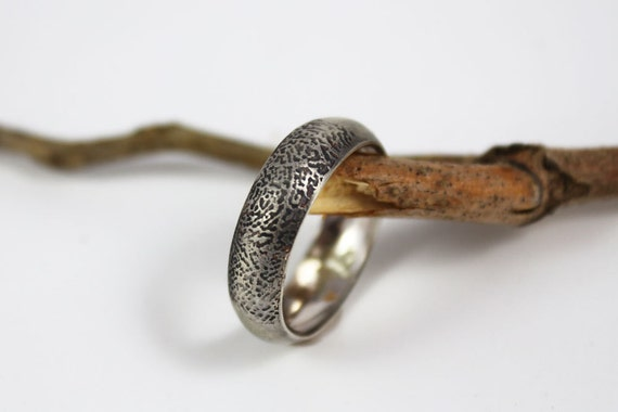 Custom fingerprint ring concaved profile , Unique wedding Commitment finger print band Man or woman's OOAK ring