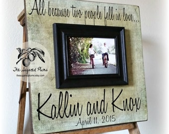 Personalized Wedding Frame, Anniversary Gift, Wedding Sign, All Because Two People Fell In Love, Song, Vows, 16x16 The Sugared Plums Frames
