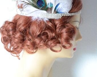 READY TO SHIP White Feather and Peacock Feather headband,Bridal rhinestone headband,art deco headband, vintage headpiece,Gatsby headband