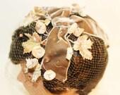 Vintage Hat Fascinator, Brown Velvet Bow Flowers and Net....G