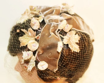 Vintage Hat Fascinator, Brown Velvet Bow Flowers and Net....G