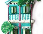 "Painted Metal Tropical Art Design - Caribbean Gingerbread House Wall Hanging - Haitian Steel Drum Metal Art - 11"" x 17"" -K-1000-TQ"