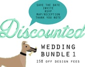 DISCOUNTED Bundle 1 - Save the Date, Invite, RSVP, Map/Reception Card, and Thank You Note : Custom Illustrated
