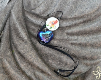 Arke Dark Iridescent Heart Drusy Necklace