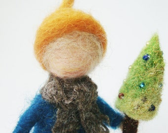 Girl holding a little tree, wool felted miniature ,gift, waldorf Art, nature table decoration, christmas decoration