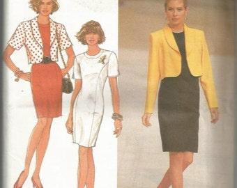 1990s Sheath Jewel Neck Princess Seams Sheath & Jacket Simplicity 7622 Uncut FF Sizes 12-16 Bust 34-38 Women's Vintage Sewing Pattern