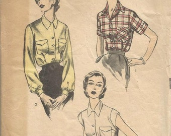 1950s Blouse Three Styles Long Sleeves Short Sleeves Sleeveless Shaped Collar Advance 6426 Size 14 Bust 32 Women's Vintage Sewing Pattern