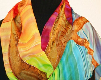 Silk Scarf Handpainted. Red, Yellow, Green Hand Painted Shawl. Handmade Wrap FAMILY TREE. Large 14x72. Bridesmaid, Mother Gift. Gift-Wrapped