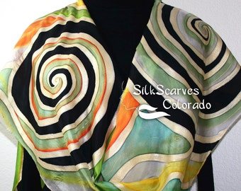 Black Silk Scarf. Green Hand Painted Silk Scarf. Gold Silk Shawl. BEAUTIFUL DAY. Large 14x72. Free Gift Wrapping.
