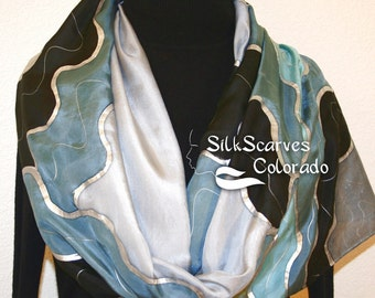 Grey Silk Scarf. Black Hand Painted Silk Shawl. Steel Blue Hand Dyed Silk Scarf SILVER CLOUDS. Size Large 14x72. Birthday Gift. Gift-Wrapped