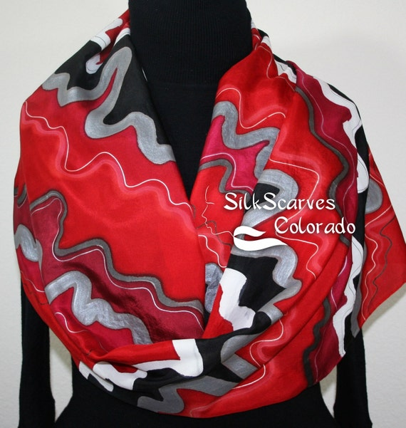 Silk Scarf Red, Black, Pewter Hand Painted Silk Shawl SCARLET WIND. Large 14x72. Silk Scarves Colorado. Birthday Gift. Gift-Wrapped.