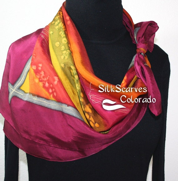 Silk Scarf Burgundy, Orange, Olive Hand Painted Silk Shawl SUMMER BREEZE by Silk Scarves Colorado Extra-Large 35x35 square Elegant Silk Gift