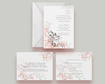 Printable Wedding Invitation Suite -- Invite, Response Card + Reception Card -- Digital File Only