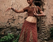 Dancer Gypsy Tribal Ethnic Long Brown skirt Hand Loom cotton Hand bloch print