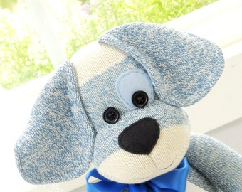 Sock Monkey Doll, Puppy Dog in Blue with Eye Patch