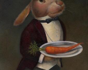 Rabbit Portrait Print - Edwardian Butler - Anthropomorphic - Downton Abbey Rabbit - Bunny