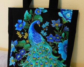 Tote Bag Book Bag Peacock on Black