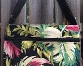 Zipper Pocket Cross Body Bag - Vintage Barkcloth Hawaiian print