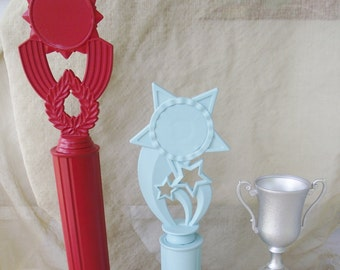 Trophy Set Red silver Aqua painted award home accent wedding decoration photo prop grooms table decor teen room college high school honors