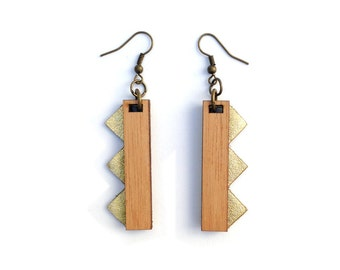 CIRCO earrings - leather & Wood available in Gold and Silver.