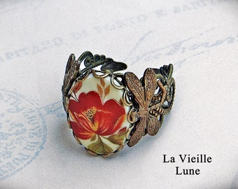 Vintage Flower Cabochon Ring, Victorian Ring, Victorian Jewelry