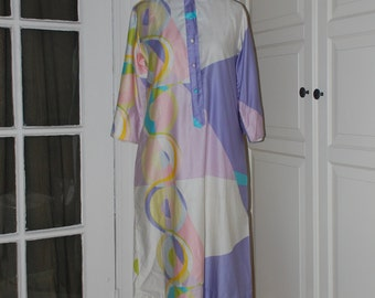 60s Dress, Shift, Penthouse Gallery, Catherine Ogust, Polished Cotton, Mod, Print, S