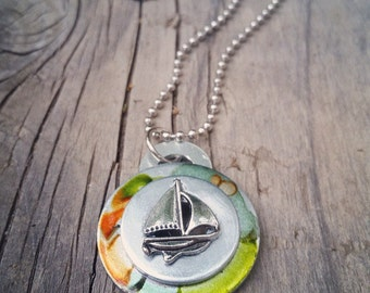 Mens Necklace Sailboat Necklace Men Gift Fathers Day Gift Men Jewelry Men Birthday Guy Gift Boyfriend