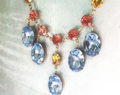 Rhinestone Statement Necklace, Baby Blue and Coral, Bride, Bib, Custom