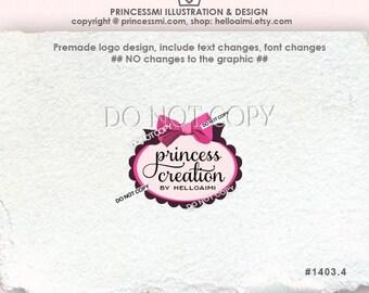 Premade Logo Design Custom logo / BOW logo / Pink Ribbon logo/ boutique logo bakery logo by princess mi logo1403-4