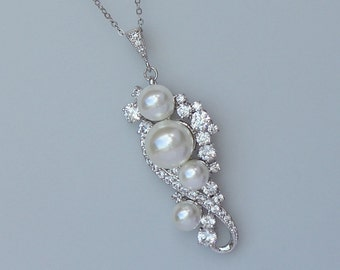 Pearl and Crystal Necklace, Bridal Necklace, Silver, Rose Gold and 18k Gold Options, Jewelry, TILLY