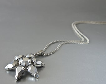 Vintage Pendant Star Silver Glass Modern Czech Necklace 70's Silver Plated