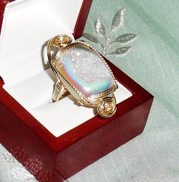 Oval Opal Titanium Druzy Drusy Geode Agate stone, 14kt yellow gold Ring Size 8.5