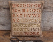 Elizabeth Adams Marking Sampler...Primitive Cross Stitch Pattern By The Humble Stitcher