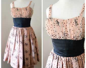 1950s Dusty pink starburst tulle / taffeta cocktail dress with over skirt, California Cottons - XS