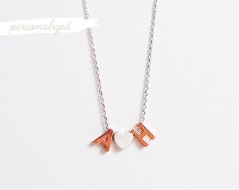 Personalized Uppercase Letters + Heart Necklace