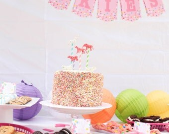 Sprinkle Confetti Cookie Bunting Banner. Circus Animal Cookie Birthday Party Treat Sign. Dessert Table Display. Pink first birthday party