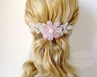 Beaded Flower Wedding Hair Vine, Blush Pink and White bridal hair piece, daisy hair fascinator, hair accessory for brides or bridesmaids