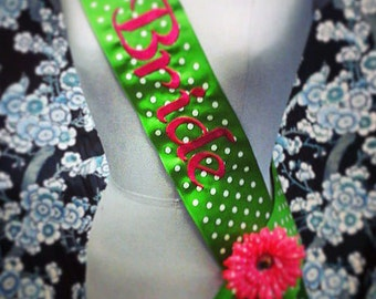 Embroidered White Polka Dot Future Mrs. Bride Sashes Bachelorette Night Out Party Custom Made by Strikke Knits