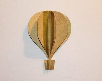 """3d Hot Air Balloon -5""""  beach colors stripes green tan sand"""