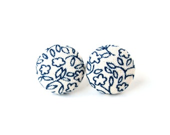 White dark blue stud earrings - small fabric earrings -  floral button earrings - marine blue porcelain