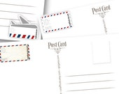 Set of AirMAIL Postcard ID and DATE stickers, Postcrossing Postcard stickers. Set of 30