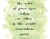 I will keep the color of your eyes - typography quote - 8x10 The Last Unicorn