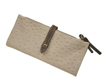 Leather Wallet  Women's Handmade made in ostrich print, off white , named Helios MADE TO ORDER