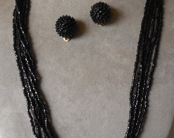 Vintage Multi Strand Black Glass Seed Bead Necklace & Earrings Set