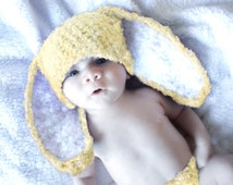 SALE 3 to 6m Yellow Baby Bunny Beanie, Crochet Bunny Baby Hat Yellow White Bunny Ears, Bunny Hat Baby Shower Gift, Infant Hat Photo Prop