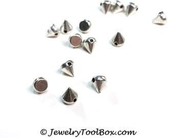Spike Beads, Silver Pewter, 5x6mm, 1.5mm Hole, Lead Free, Lot Size 12 to 60, #1263