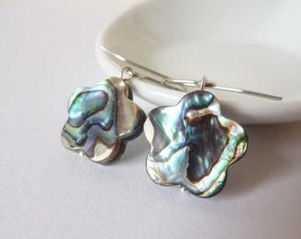 Flower Earrings, Abalone Earrings,  Shell Earrings, Ormer Shell, Hypo Allergenic, Earrings UK