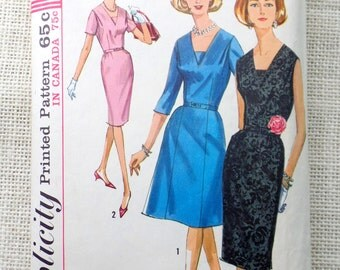 Vintage 1960s Dress Pattern Simplicity 5705 three quarter Sleeves Shift Wiggle Bombshell Rockabilly pencil skirt Bust 35 V neck vestee