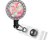 Dreamy Floral Nurse Silver Retractable ID Tag Badge Reel